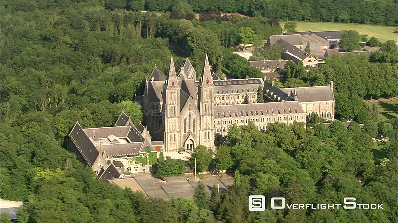 Flying past the Abbey of Maredsous, Belgium