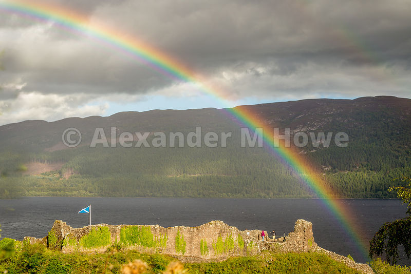 Rainbow over Urquhart Castle on the banks of Loch Ness, Scotland