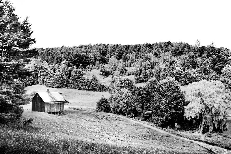 OLD BARN ON A HILL RURAL VERMONT BLACK AND WHITE