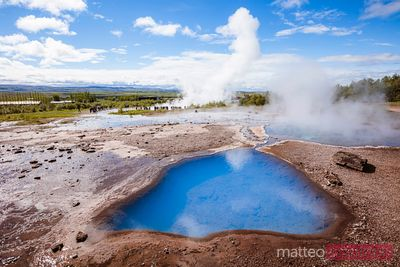 Hot geothermal pools, Geysir, Iceland