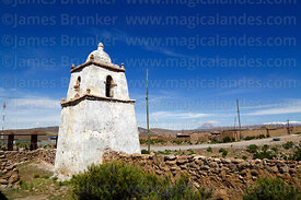 Church belfry in abandoned village of Mauque, Isluga National Park, Region I, Chile
