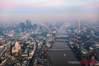 Aerial view of river Thames and skyline at dusk, London