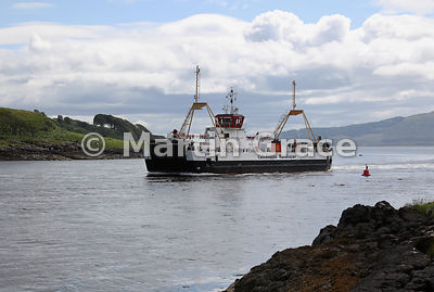 Caledonian MacBrayne ferry Loch Fine approaching Lochaline, Morvern, from Fishnish, Isle of Mull, Scotland