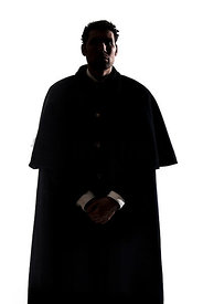 A Figurestock image of a standing Victorian man in a cloak, In Silhouette - shot from eye level.