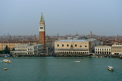 Looking over Grand Canal to Piazza San Marco with St Marks Basilica and Doges Palace, Venice, Italy