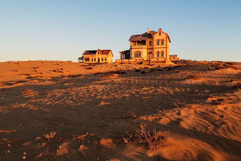Abandoned Housed in the Namib Desert at Dusk