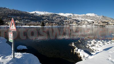 View of Frozen Lake of Saint Moritz in Winter Season