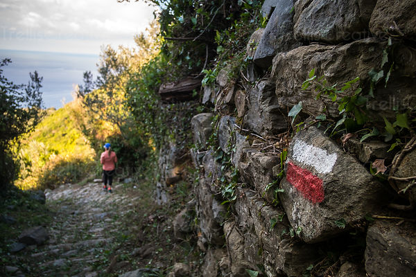 Rear view of a woman on the hiking path to the town of Corniglia in Cinque Terre
