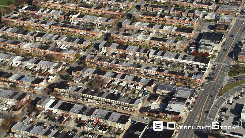 Flying over row houses in Baltimore, Maryland. Shot in November