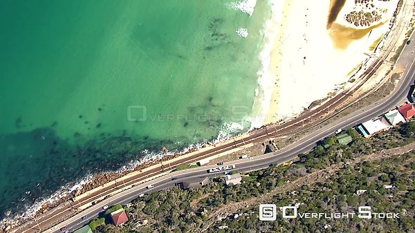 Aerial shot over the Main Road in Kalk Bay. Cape Town Western Cape South Africa