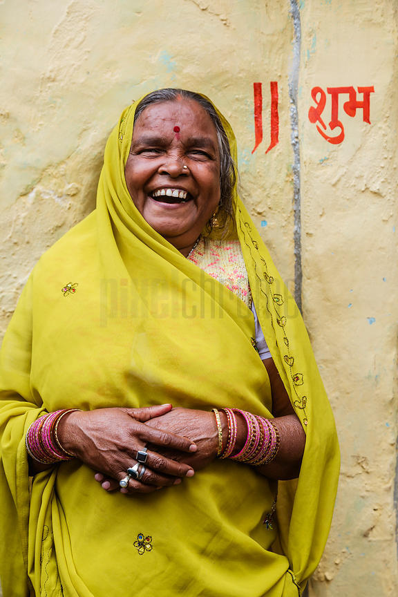 Indian Woman Outside her Home