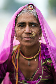 Traditional woman with cataracts, Pushkar, Rajasthan, India