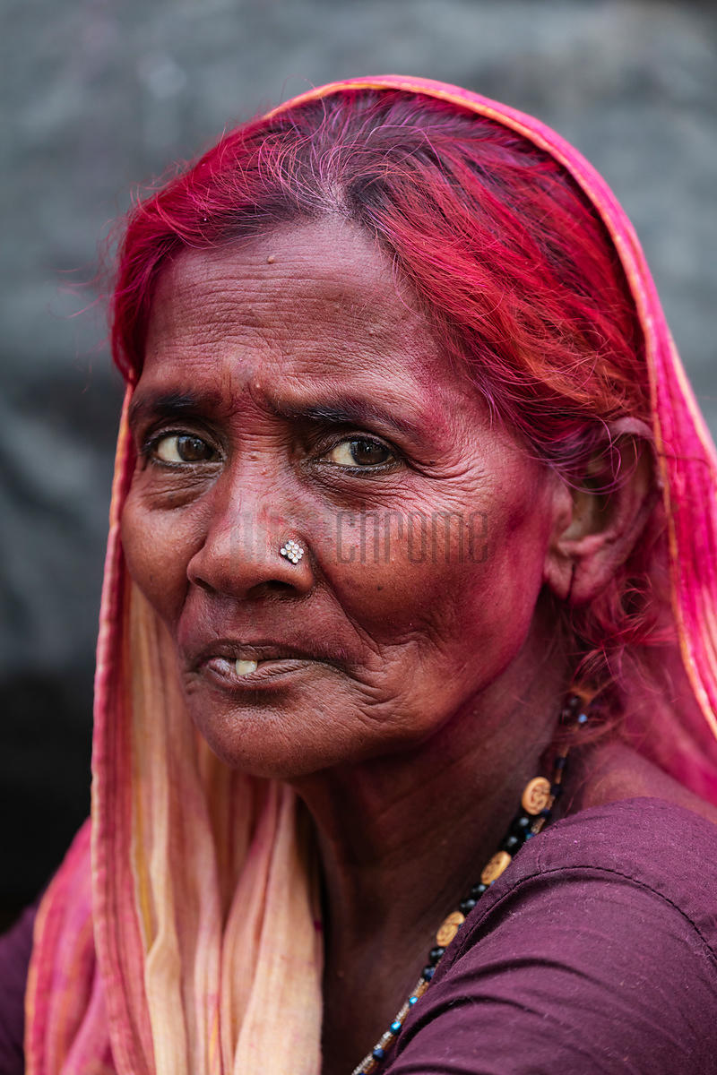 Portrait of a Woman with Holi Color (Gulal) in her Hair