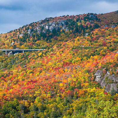 Linn Cove Viaduct on the Blue Ridge Parkway in Autumn