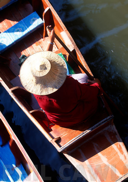 Small boat at the floating market Thailand shot from above