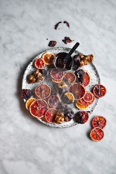 Dried blood oranges dipped in chocolate