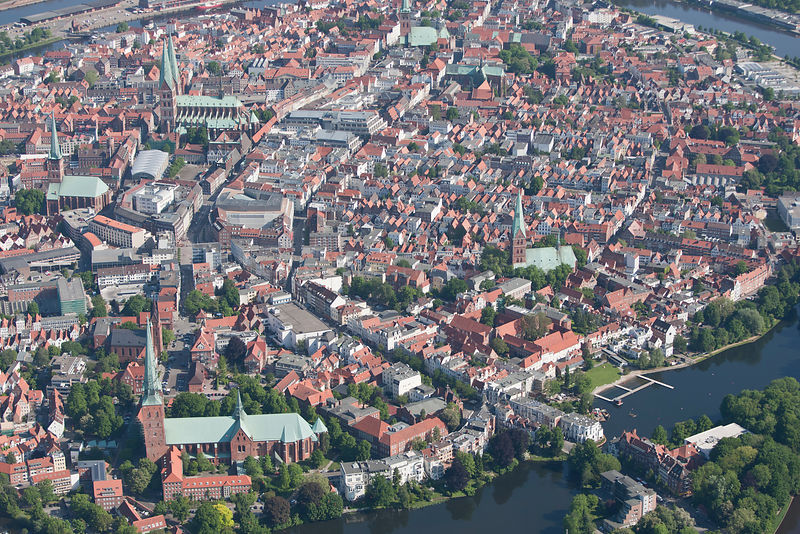 Aerial view of Hanseatic City of Lubeck, water-enclosed Old Town, UNESCO World Cultural Heritage, Schleswig-Holstein, Germany...