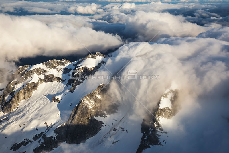 British Columbia Coastal Mountains Covered in Clouds