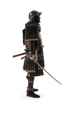 A Samurai warrior with his sword drawn - shot from mid-level.