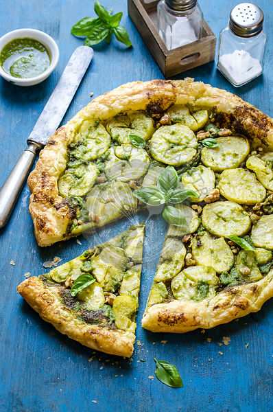 Potato and walnut pesto tart