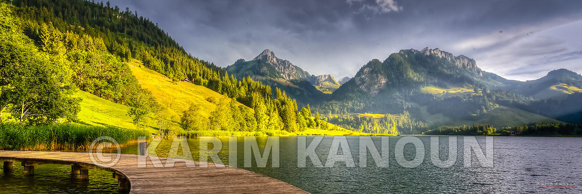 Panorama - Schwarzsee lake, deck and mountains - Fribourg