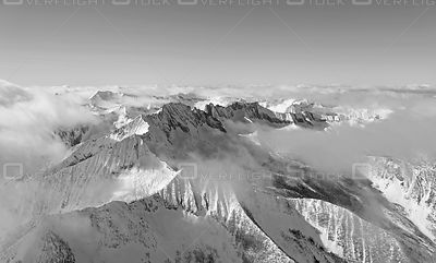 Black and White of Purcell Mountain Range Kootenay BC