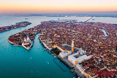 Colourful sunrise over Venice, aerial view