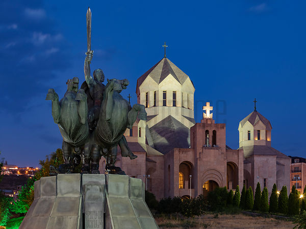 Statue of Andranik Ozanian and St Gregory the Illuminator Cathedral at Dusk