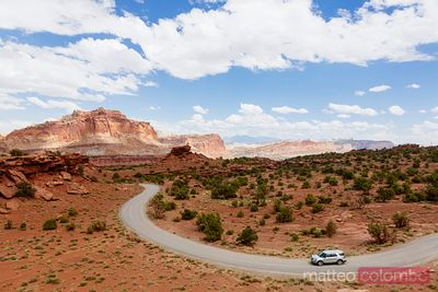 Road with car, Capitol Reef National Park, Utah, USA