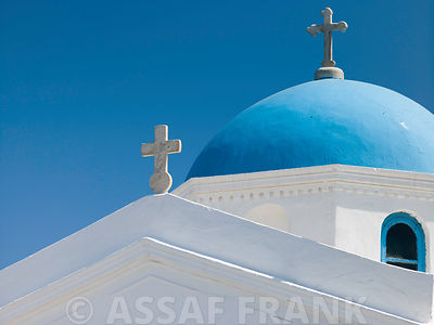 Greece, Cyclades, Mykonos Island. low angle view of church