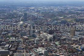 Manchester Skyline looking  from a northerly direction across Piccadilly towards the City centre with Salford Quays in the di...