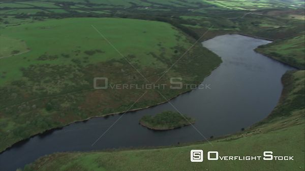 Aerial view of Meldon Reservoir, Dartmoor National Park, Devon, England, UK, October 2015.