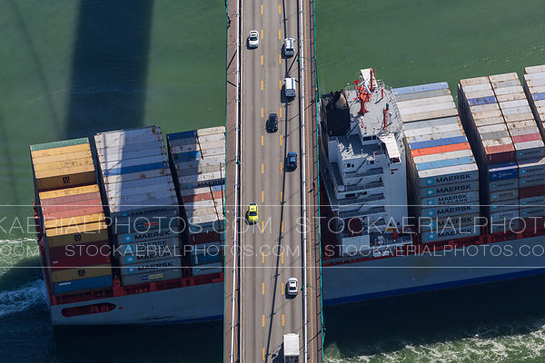 Container Ship under Lions Gate Bridge