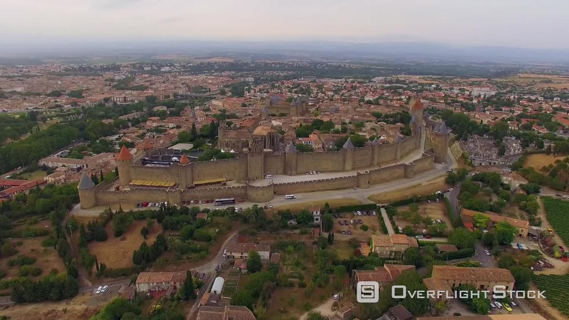 Drone Video of The Historic town of Carcassonne France.
