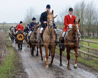 Followers leaving the meet at the Quorn kennels