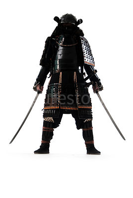 A semi-silouette of a Samurai warrior with two swords - shot from low-level.