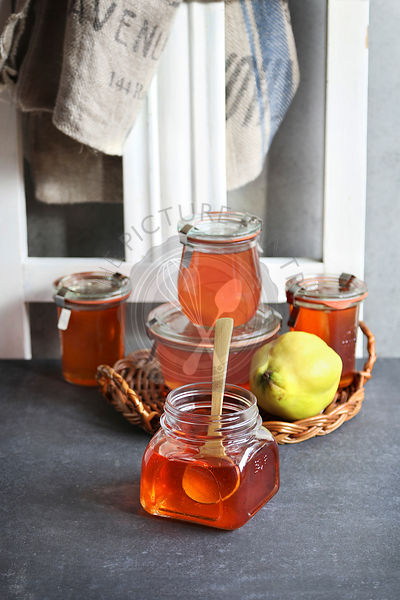 Quince jelly in a jar