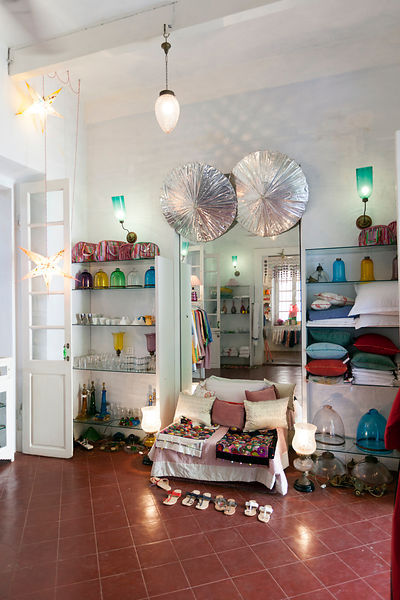 The interior of the Oh Lala boutique selling art and furnishings in Pondicherry, India