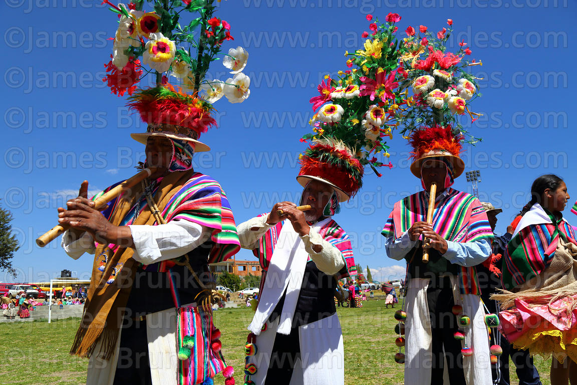 Choquela musicians from Copankana playing quena and pinquillos at festival in Compi Tauca, La Paz Department, Bolivia