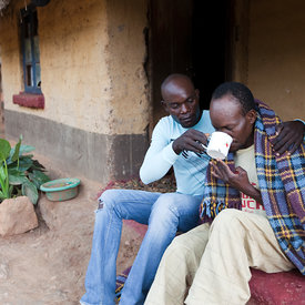 Chansa Lloyd is comforted by his brother. Chansa is almost blind with cataracts and because of this, his wife left him. He si...