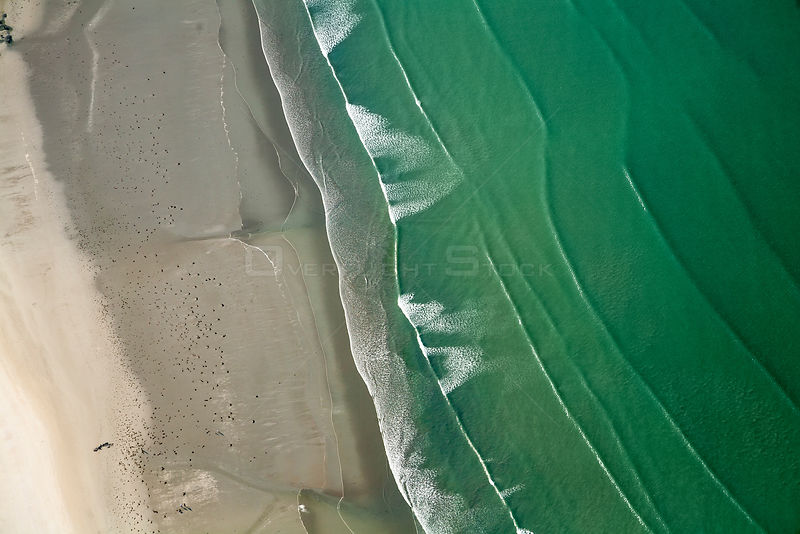 Aerial view of Saint-Michel-en-Grève beach. The green color of water is due to algae (Ulva armoricana) growth caused by nitro...