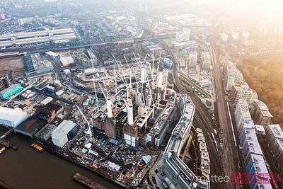 Aerial view of Battersea construction site, London, UK