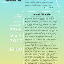 The next PhotoCafe is on 27th September with award winning photographer Anand Chhabra.