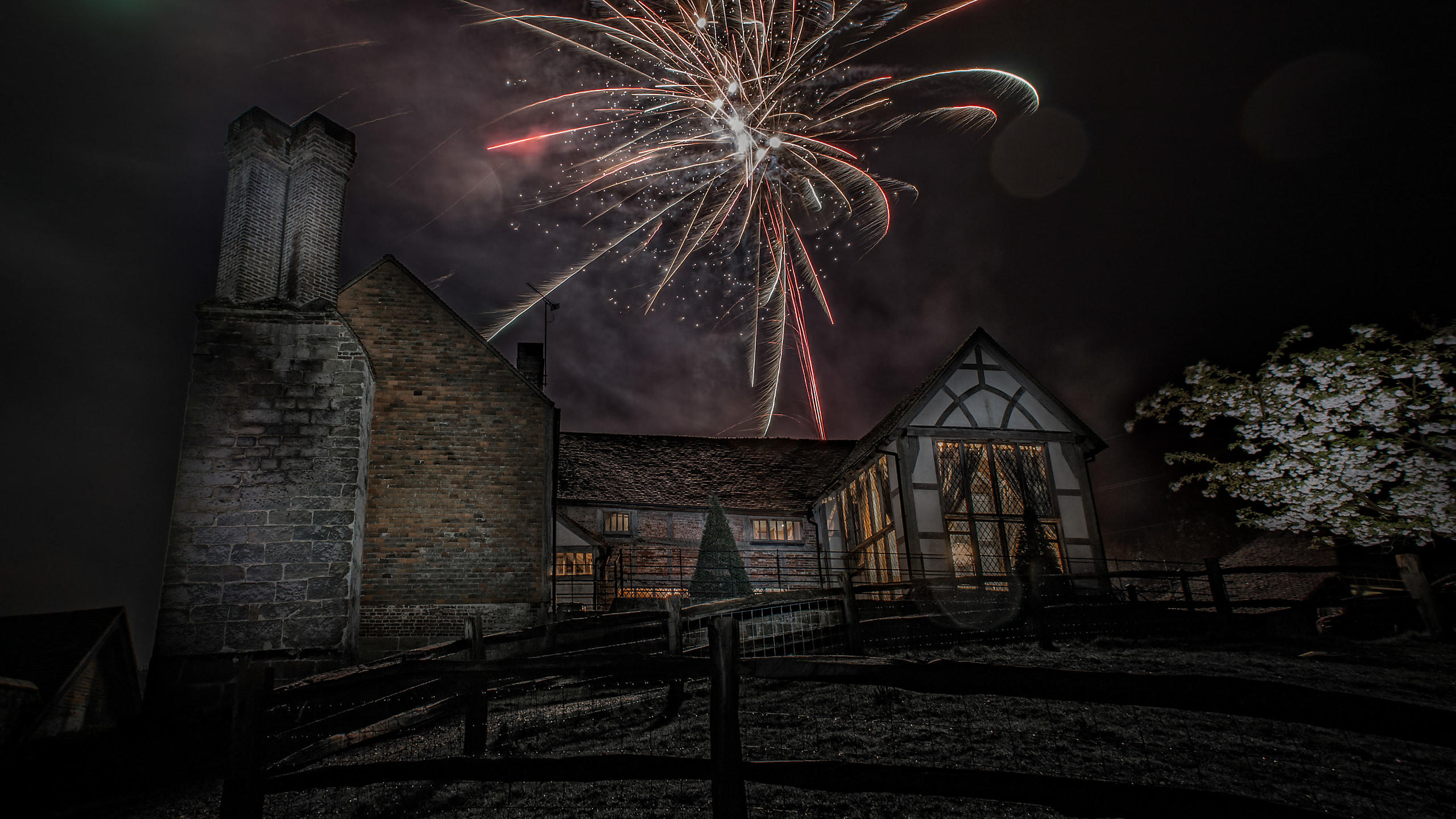 Fireworks Over Farmhouse