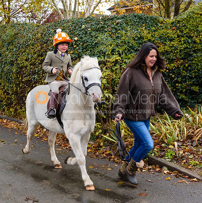 Etta Watson, Danielle Watson leaving the meet. The Cottesmore Hunt at Braunston