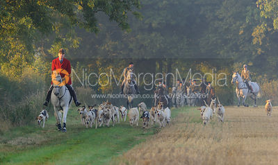 Andrew Osborne MFH brings hounds up Brooke Hill -The Cottesmore Hunt at America Lodge Crossroads 23/9