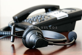 Phone Headset and Business Telephone Picture