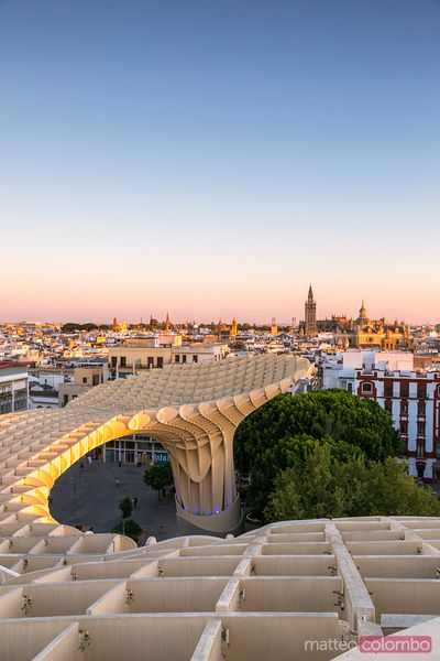 Metropol Parasol structure and city at sunset, Seville, Spain