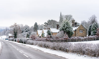 Edensor cottages in winter