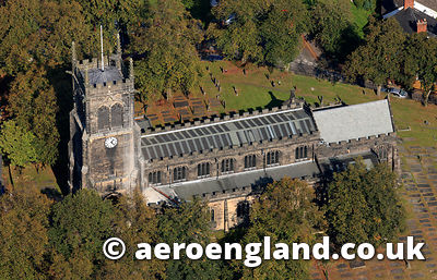 aerial photograph of  St Mary's church  Sandbach Cheshire England UK